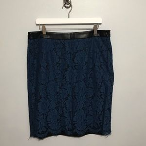 Brixon Ivy Black and Navy Lace Floral Pencil Skirt